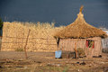 Straw hut bangani namibie october in town of bangani on october in namibia about per cent of households are classified as poor Stock Photo