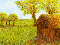 Straw hut in the rice paddy impressionist nipa hand painting on graphic tablet Stock Photo