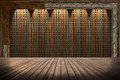 Straw mat wall and wooden floor room interior vintage with wood Stock Images