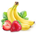 Strawberies and bananas on a white. Royalty Free Stock Photo