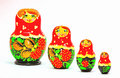 Strawberrie matryoshka russian dolls on white background Royalty Free Stock Photography