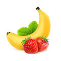 Strawberries and banana over white background Royalty Free Stock Image