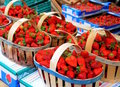 Strawberries in baskets Royalty Free Stock Photography