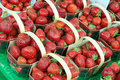 Strawberries in baskets Stock Photo