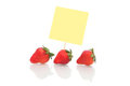 Strawberries with blank Note paper Royalty Free Stock Images