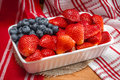 Strawberries and blueberries combined to look like the american flag Royalty Free Stock Photo