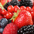 Strawberries, blueberries, red currants, raspberries and blackbe Royalty Free Stock Photo