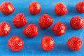 Strawberries on a board Royalty Free Stock Images
