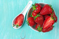 Strawberries in bowl Royalty Free Stock Photo