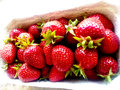 Strawberries in box sweet berry Stock Photos