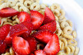 Strawberries on Cereal Stock Image
