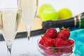 Strawberries and champagne during wimbledon tournament Stock Photography