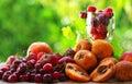 Strawberries, cherries and loquats. Stock Photo