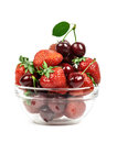 Strawberries and cherries in a transparent piala isolated Stock Photo