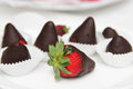 Strawberries chocolate covered food photography Stock Images
