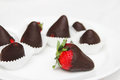 Strawberries chocolate covered food photography Royalty Free Stock Photography