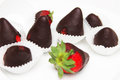 Strawberries chocolate covered food photography Stock Photo