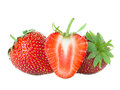 Strawberries close-up isolated on white Royalty Free Stock Photo