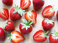 Strawberries close up a on wooden background Royalty Free Stock Photos