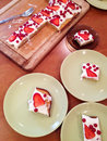 Strawberries cookie on plates Royalty Free Stock Photo