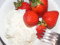 Strawberries and cream appetizing with whipped Stock Image