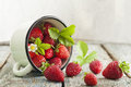 Strawberries in cup on wooden rustic background Stock Photography