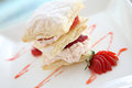 Strawberries and custard millefeuille Stock Photography