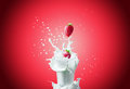 Strawberries falls in milk view of nice fresh red strawberry falling down to the glass making a big splash on a red background Royalty Free Stock Images