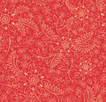 Strawberries and flowers red background with a pattern of Royalty Free Stock Image