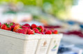 Strawberries on a fruit market stand Stock Image