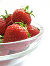 Strawberries in a glass bowl Royalty Free Stock Image