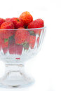Strawberries in glass bowl on white background selective focus Stock Photography