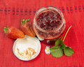 Strawberries jam yogourt Royalty Free Stock Photo