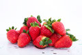 Strawberries juicy on a table Royalty Free Stock Photography