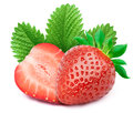 Strawberries with leaves isolated on white Royalty Free Stock Photo