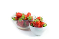 Strawberries a little white bowl of fresh ripe focus on in white bowl Royalty Free Stock Photo