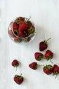 Strawberries lots of ripe red juicy on a blackboard Royalty Free Stock Photo