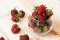 Strawberries lots of ripe red juicy on a blackboard Royalty Free Stock Image
