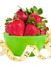 Strawberries and Measuring Tape Royalty Free Stock Photos