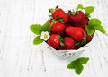 Strawberries in a metal pot Royalty Free Stock Photo