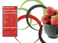 Strawberries nutrition facts creative design for with label Royalty Free Stock Photography