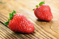 Strawberries old wooden table selective focus Stock Images