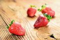 Strawberries old wooden table selective focus Royalty Free Stock Photography