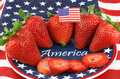 Strawberries on Patiotic Plate with America Stock Photo