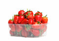 Strawberries in a plastic cup bowl on white background Royalty Free Stock Images