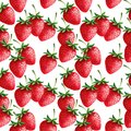 Strawberries seamless hand drawn pattern with white background Royalty Free Stock Image