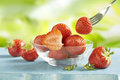 Strawberries served in a glass bowl on a blue table outside Royalty Free Stock Photo