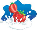 Strawberries splashing in milk Stock Photos