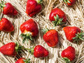 Strawberries on a thatch rustic style Royalty Free Stock Images