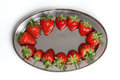 Strawberries on a tray white background Stock Photo